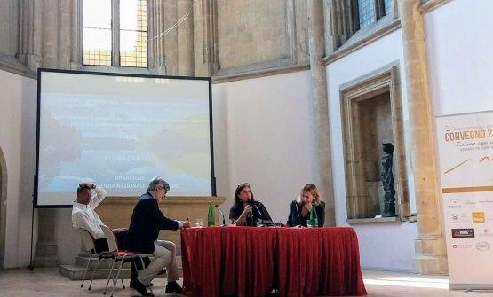 Sul palco del convegno, da destraRoberta Garibaldi, Elena Di Raco, Nicola Cesare Baldrighi e Giorgio Scarselli