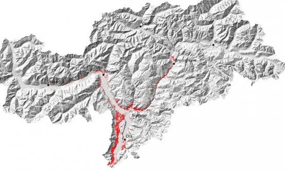 La posizione dei vigneti in Alto Adige