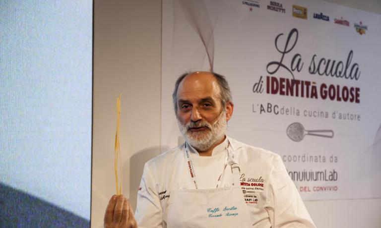Il pasticcere sicilianoCorrado Assenzaha presentato un piatto che fa dialogare dolce e salato