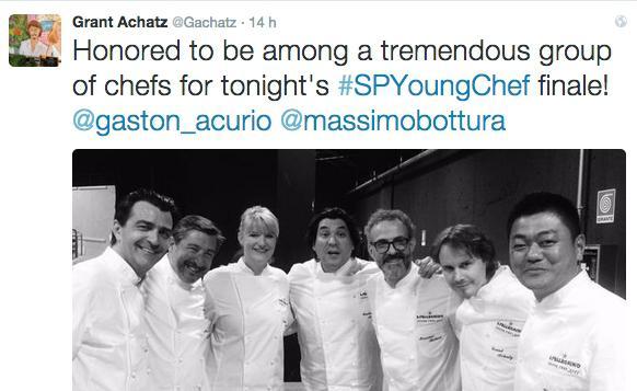 Il tweet di Grant Achatz(secondo da destra) sull'avventura come giurato dellaS.Pellegrino Young Chef di venerdì scorso