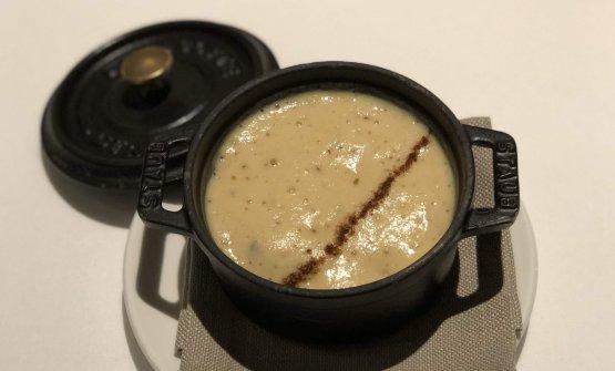 Doppia consistenza di ceci, nocciole tostate, funghi shitake