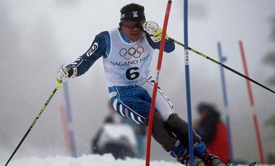 Alberto Tomba in azione alle Olimpiadi di Nagano 1998