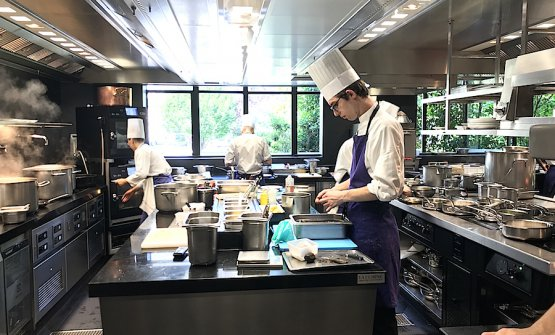 In the kitchen of the Pavillon Ledoyen in Paris