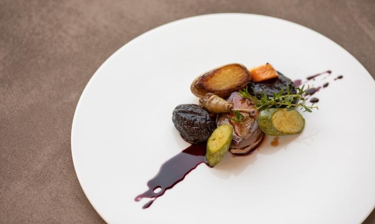 Foie gras, pistacchio di Bronte e aceto balsamico di Modena