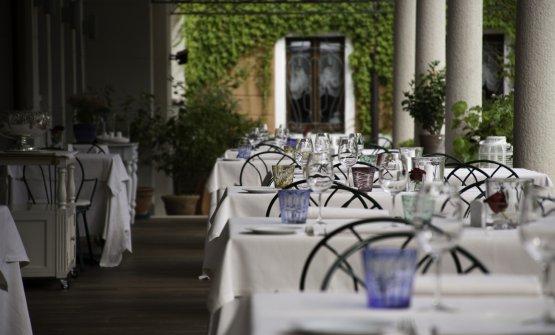 La bella sala del Regio Patio, ristorante gourmet dell'hotel Regina Adelaide