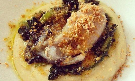 Crema di fave, cicoria soffritta, ostriche marinat