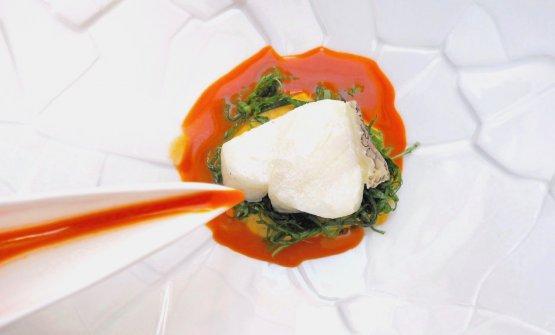 Moro oceanico, mais al cocco, insalata di basilico, curry rosso.Foto Sonia Gioia