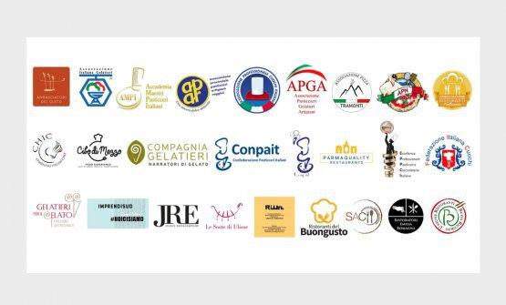 La sigle delle 26 associazioni della ristorazione che hanno sottoscritto un documento con otto richieste al Governo, leggiLa ristorazione italiana rinnova le richieste al governo: 8 misure essenziali