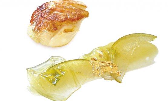 Capesante con mortadella, mele e finocchi (prima versione, 2005). Foto di Bob Noto