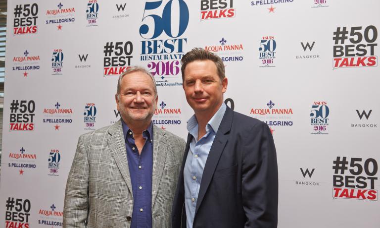 Clément Vachon, direttore Comunicazione e International Relations di Sanpellegrino, con William Drew, direttore di Restaurant, la rivista inglese che ha creato i 50 Best