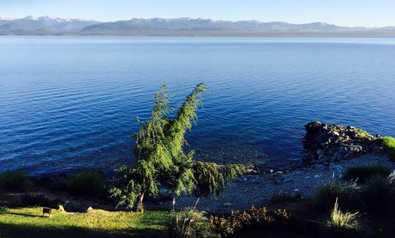 Un'immagine in piena estate australe, quindi dicembre, del lago Nahuel Huapi in cui si specchia San Carlos de Bariloche, per tutti più semplicemente Bariloche, splendida località sciistica argentina ai piedi delle Ande.