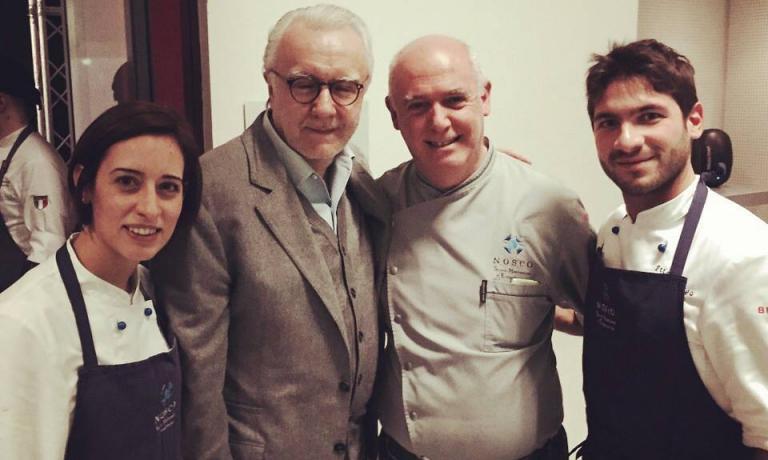 Peppe Barone con Alain Ducasse e allievi