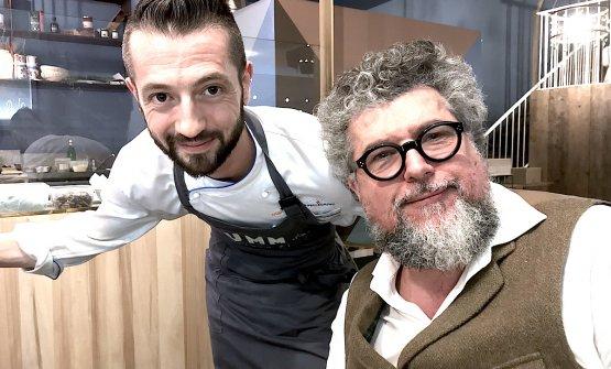 Beniamino Bilali con il gastronomo e critico Andrea Grignaffini al termine di una straordinaria degustazione a Pummà Milano