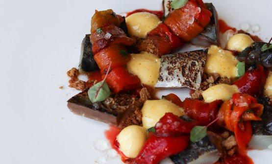 Sgombro marinato, zabaione salato al marsala, pepe