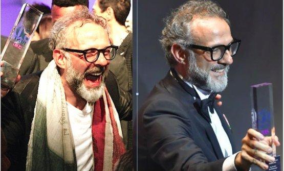 Massimo Bottura due volte vittorioso ai 50 Best: a sinistra nel 2016 a New York e nel 2018 a Bilbao