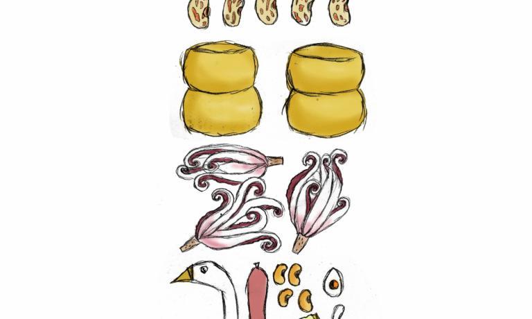 Gianluca Biscalchin disegna la Compressione di Pasta e Fagioli di Massimo Bottura: sono rispettati i diversi strati del piatto che però risultano scomposti, evocando quella torre di sapori che è la Compressione quando la si assaggia. Qui l'intera illustrazione e la ricetta.
