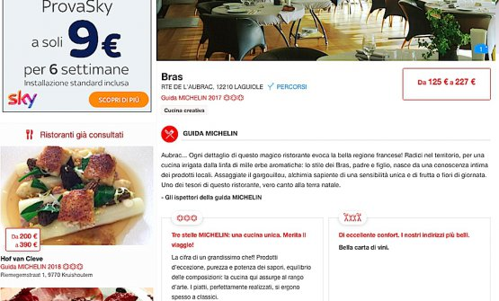 La pagina nel sito Viamichelin dedicata ai Bras e alle loro 3 stelle. Che da lunedì 5 febbraio saranno un ricordo