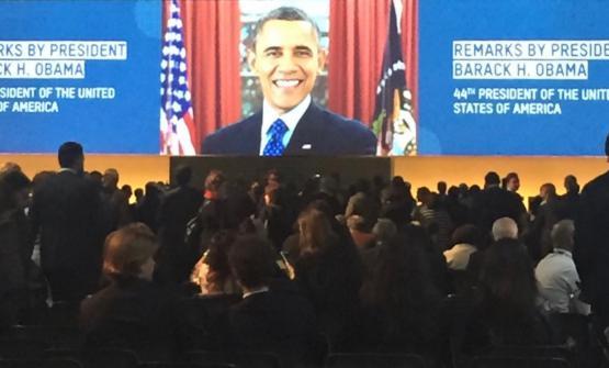 Una foto scattata da CristinaBowermanpoco prima di assistere al discorso tenuto da Barack Obama a Milano. La chef e presidente degli Ambasciatori del Gusto racconta a Identità Golosele sue impressioni