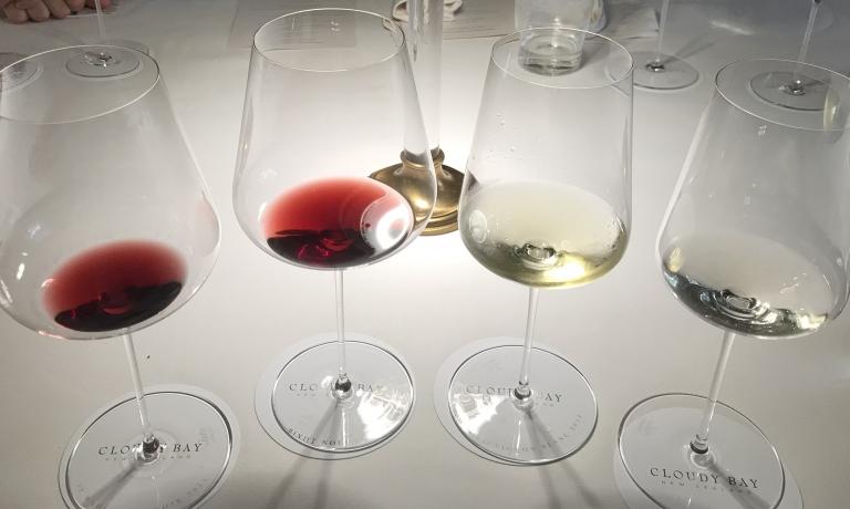 I vini in degustazione: da sinistra Te Wahi 2015, Pinot Noir 2017, Te Koko 2014 e Sauvignon Blanc 2017