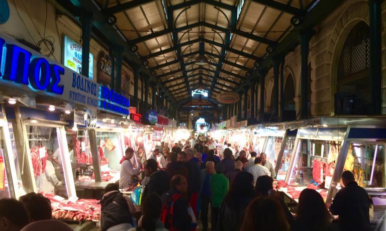 Il mercato della carne ad Atene