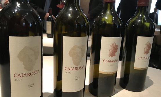 Le bottiglie di Caiarossa,vino di punta dell'azienda