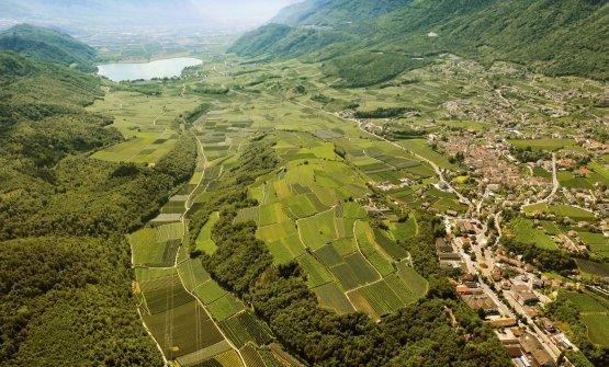 Una splendida immagine dall'alto del lago di Caldaro, dei vigneti e del paese