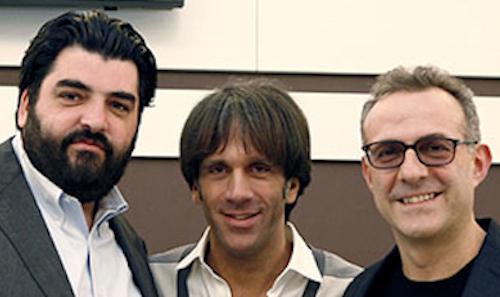 Una foto d'annata, dawww.marchidigola.it, di Antonino Cannavacciuolo, Davide Oldani eMassimo Bottura. Gli ultimi due sono indicati da Margarita Forés come suoi punti di riferimento in cucina
