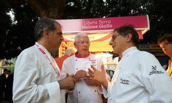 Antonio Cappadonia, Angelo Corvitto e Arnaldo Conforto in una foto scattata a una precedente edizione dello Sherbeth Festival per il sito Cronache di Gusto