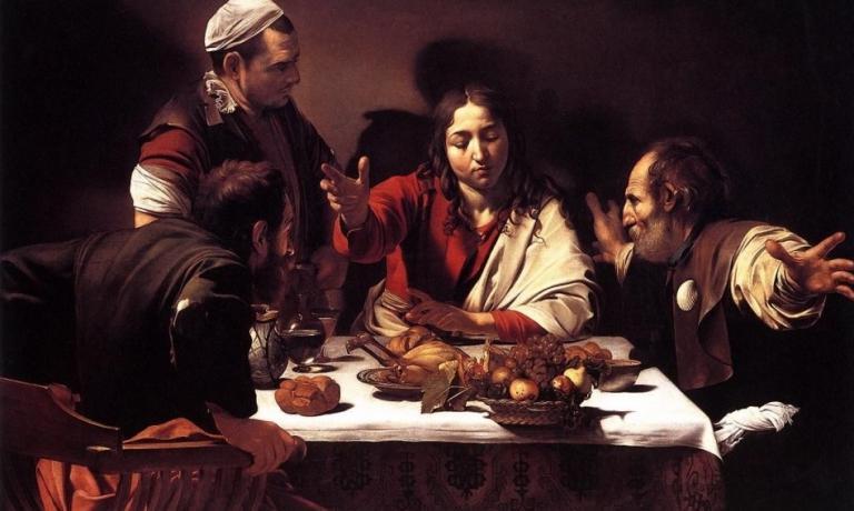 """""""La cena in Emmaus"""" di Caravaggio è stata un'ispirazione importante perDavide Groppi, in particolare per l'illuminazione dei ristoranti con cui ha collaborato"""