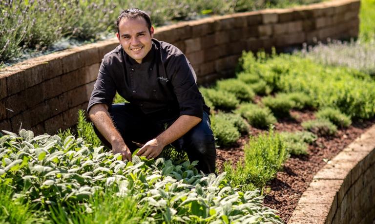 Lo chef Matteo Morra, albese, classe 1989. È protagonista delle cucina del Morra Restaurant, aperto nel maggio scorso a Cherasco
