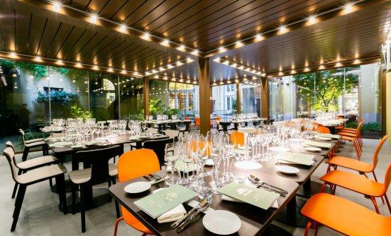 La Sala Glicine, con la pergola bioclimatica che permetterà di utilizzare lo splendido cortile interno per tutto l'anno
