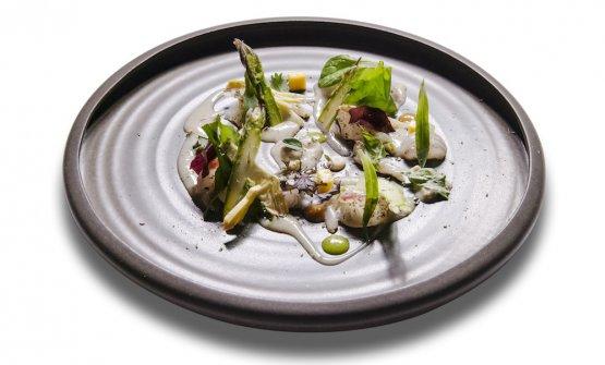 Succo di cannocchie, vongole, gambero rosa, erbe e verdure di Sant'Erasmo(tutte le foto dei piatti sono diTobia Berti)