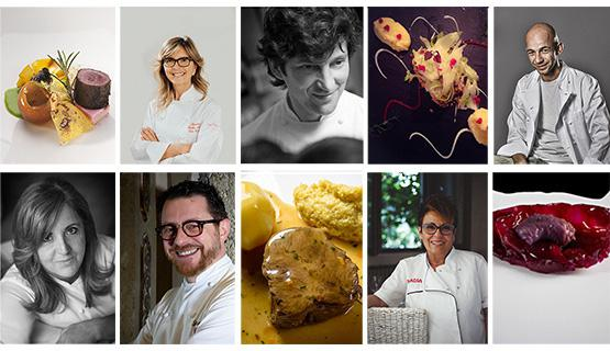 Alcuni degli chef e dei piatti protagonisti della serata del 29maggio, festa per i 50 anni di Da Vittorio, ma anche di presentazione di Ea(s)t Lombardy come Regione Europea della Gastronomia 2017