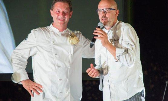 Enrico Cerea e Franco Pepe, due Ambasciatori del Gusto alla festa dello street food alla Cantalupa a Brusaporto (Bergamo)