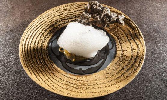La versione degliSpaghetti al tè nero affumicato presentata a Identità Golose 2017