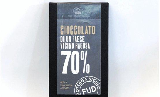 """Ancora, il cioccolato di Antica Dolceria Bonajuto venduto da Fud e (provocatoriamente) denominato """"cioccolato di un paese vicino a Ragusa"""""""