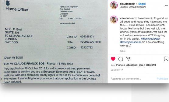 Il post su Instagram pubblicato poco fa dal cuoco francese Claude Bosi, chef del ristorante Bibendum di Londra, due stelle Michelin