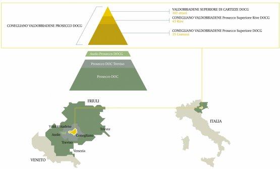 """La """"piramide"""" della produzione del Prosecco (grafico fornito dal Consorzio)"""