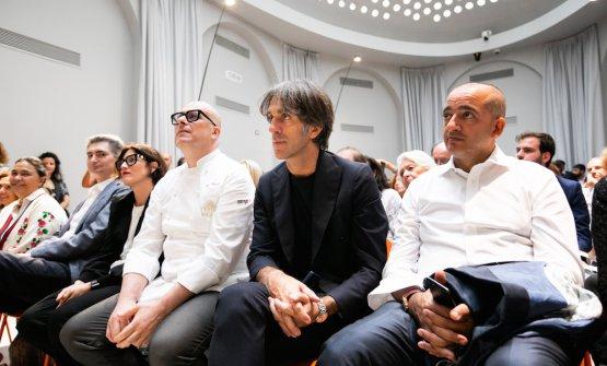Si riconoscono Alberto Santini, Paolo Brunelli, Davide Oldani e Pino Cuttaia