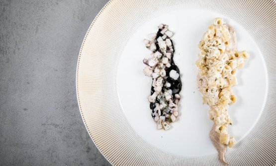 Il bianco e il nero -Mezzi rigatoni, ricotta ovina, nocciola dei Nebrodi, timo selvatico degli Iblei, seppia e il suo nero, granella di fava di cacao