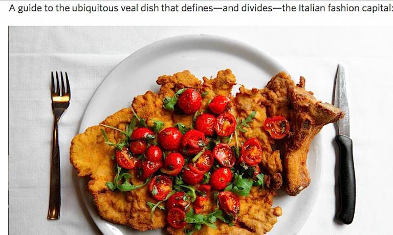 In pieno Expo 2015 a Milano, il Wall Street Journal è andato alla ricerca delle migliori cotolette nella città dell'Esposizione Universale. Il giornalista Eric Sylvers ne ha esaltate 5 di altrettante trattorie meneghine