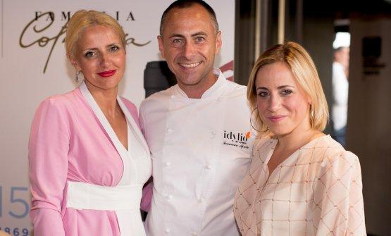 Lo chef Francesco Apreda tra Dominga ed Enrica Cotarella