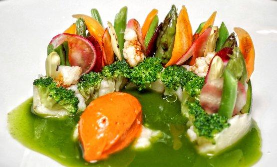 Cotto e crudo di verdure con sorbetto alpomodoro e melassa di fichi