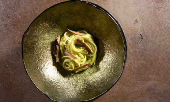 Gli Spaghetti contè matcha, wasabi e pepe sansh