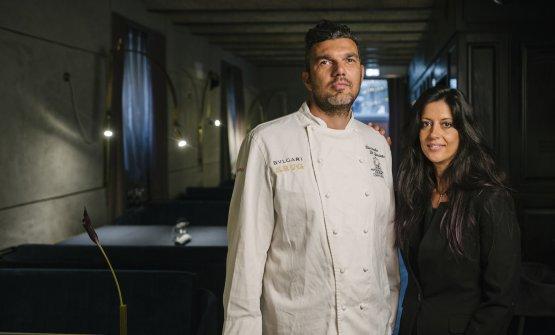 Lo chef conRamona Anello, sua compagna e maître del ristorante (foto di Andrea Di Lorenzo)