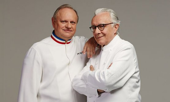 "TITANS. With his colleague Joël Robuchon, who passed away on August 6th. ""I loved his mix of freedom and rigour"", Ducasse said (photo lechef.com)"