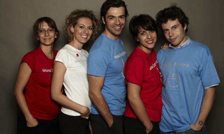 Da sinistra Silvia Bellesso, Federica Fini,Luca e Francesca Argentero e Beniamino Savio
