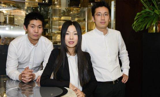 Marco, Giulia e Claudio Liu, patron rispettivament