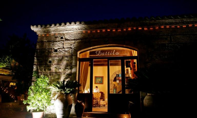 A night view of the entrance of the restaurant owned by the Ceraudo family
