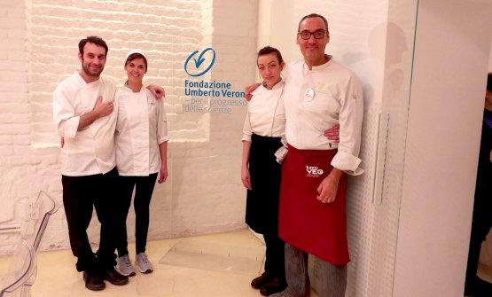 La squadra della Fondazione Veronesi.Da sinistra, Davide Egardi executive chef, Eleonora Epis pasticcera, Chiara Colzani chef e sommelier e Simone Salvini